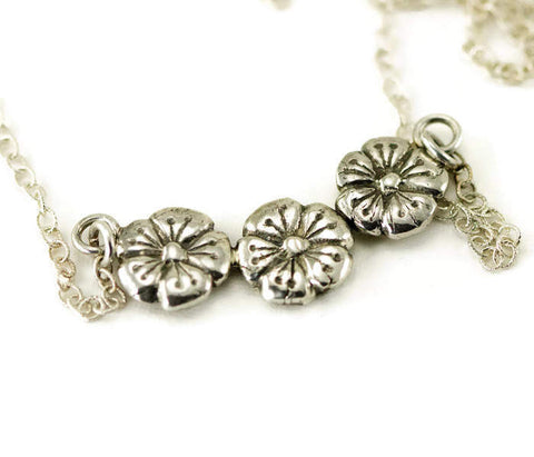 Curved Bar Flower Necklace - Poppy Flower Sterling Pendant