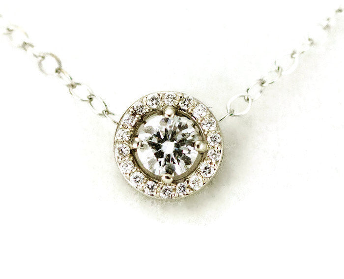 14k Moissanite Halo Necklace