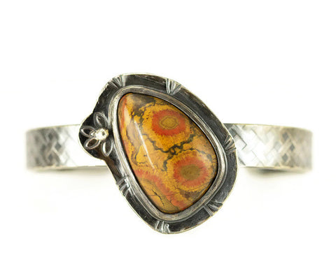 Morgan Hill Poppy Jasper Cuff Bracelet - Sterling Pattern Cuff