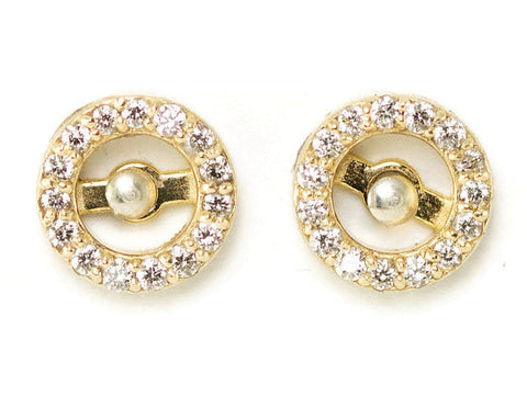14k Gold Diamond Halo Earring Jackets - Yellow Gold Diamond Stud Enhancers