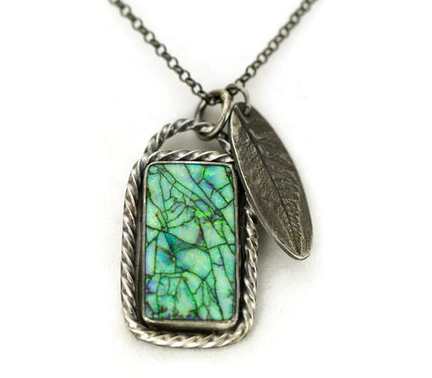 Sterling Opal Charm Necklace - Monarch Opal Pendant - Fern Leaf Charm