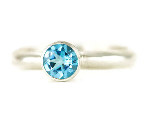 Swiss Blue Topaz Solitaire Ring - Sterling Blue Topaz Birthstone Ring
