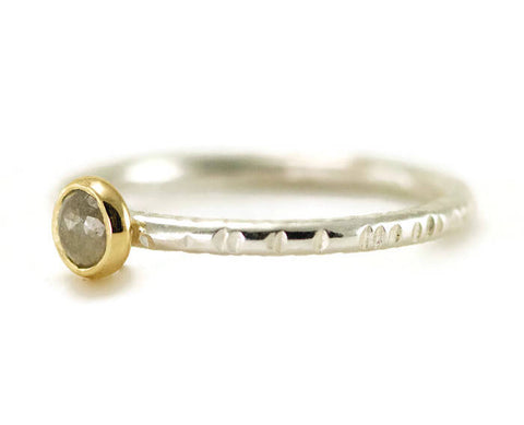 Grey Rose Cut Diamond Ring - 18k Yellow Gold & Sterling Diamond Stack Ring