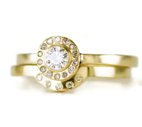 Moissanite and Diamond Wedding Ring Set - 14k Gold Halo Engagement Ring - Contour Band