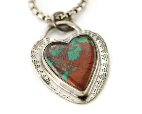 Sonoran Sunrise Heart Necklace - Sterling Heart Pendant - Ready to Ship