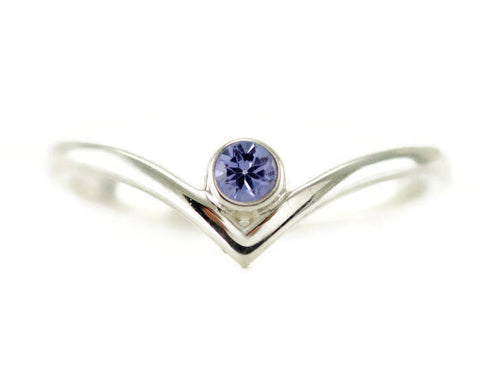 Tanzanite Chevron Sterling Ring - Bezel Set V Ring - Choose Your Birthstone Stack Ring