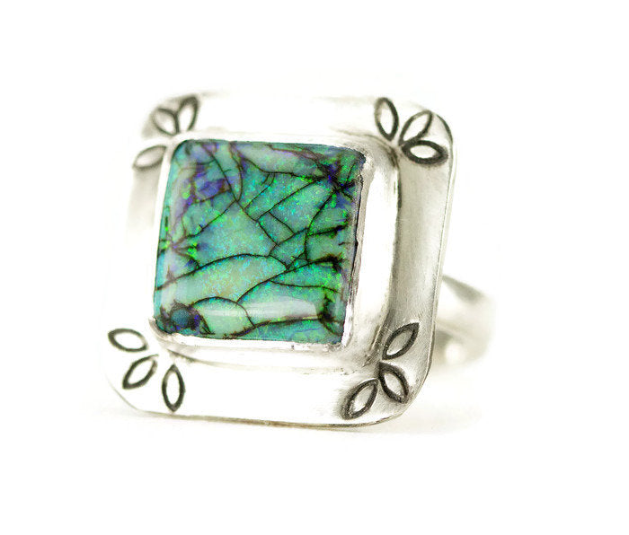 Green Monarch Opal Sterling Ring - Square Opal Boho Statement Ring ...