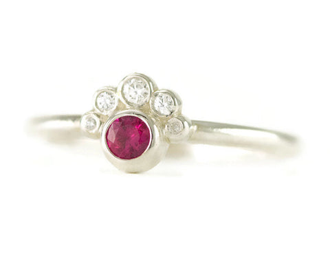 Sterling Ruby and Diamond Stack Ring - Partial Halo Promise Ring - Choose Genuine or Lab Created Stones