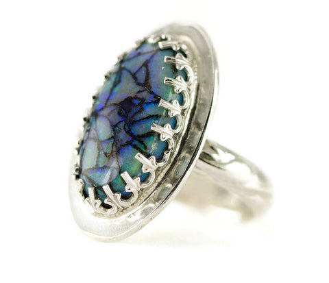 Monarch Opal Sterling Ring - Oval Blue Opal Statement Ring