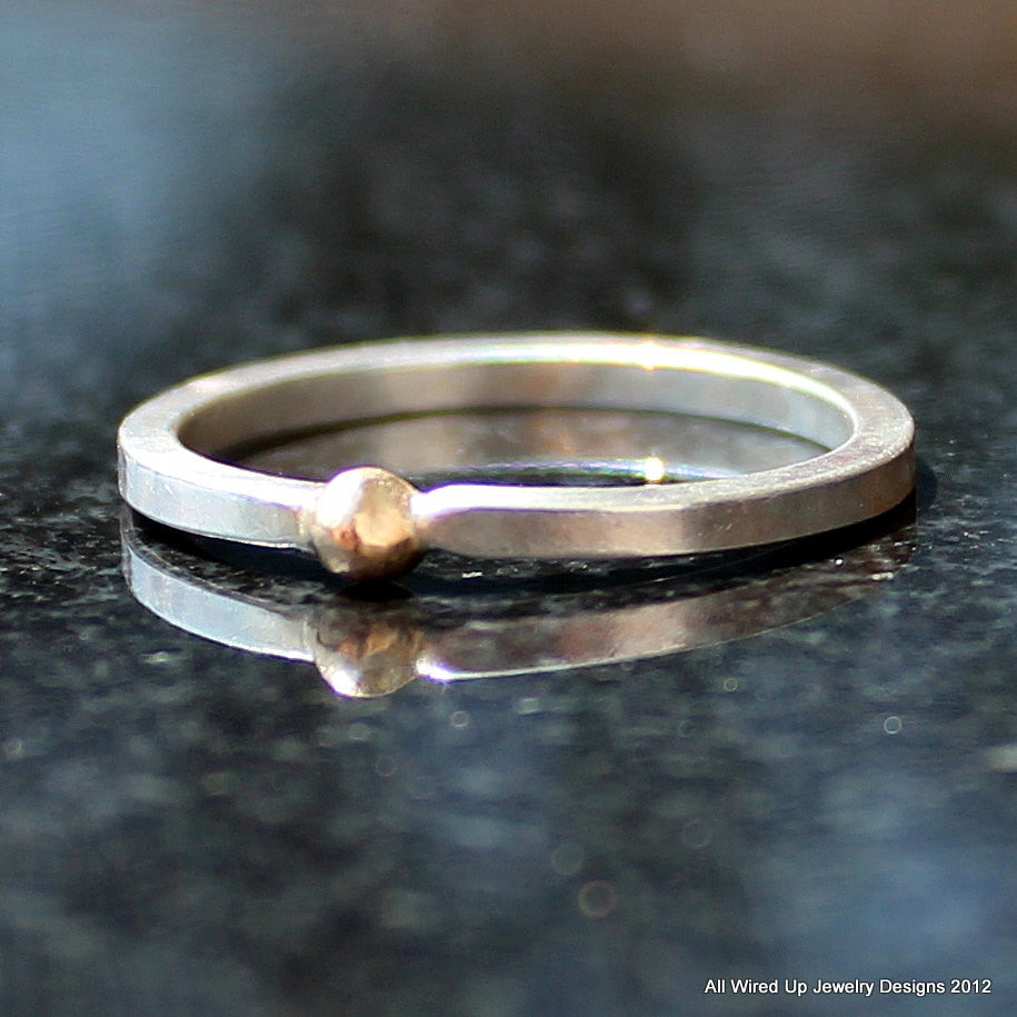 Gold and Sterling Stack Ring - Gold Ball Stacking Ring - All Wired ...