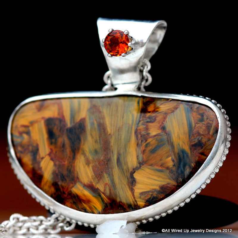 Sterling Pietersite and Citrine Necklace - Pietersite and Citrine Pendant