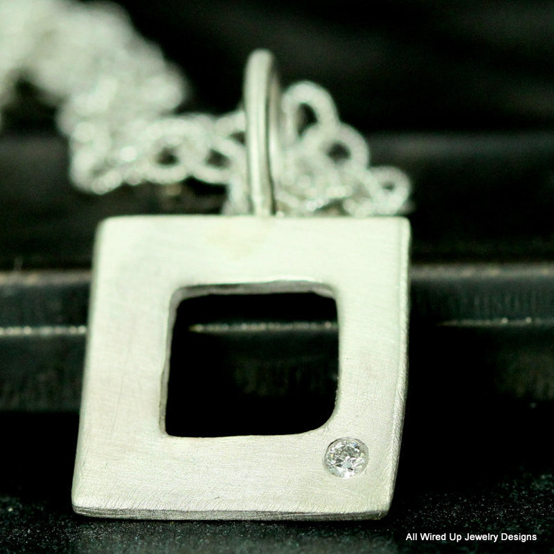 Sterling Diamond Necklace - Organic Square Necklace - All Wired Up ...