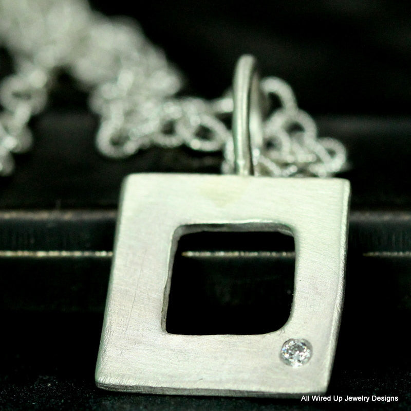 Sterling Diamond Necklace - Organic  Square Necklace