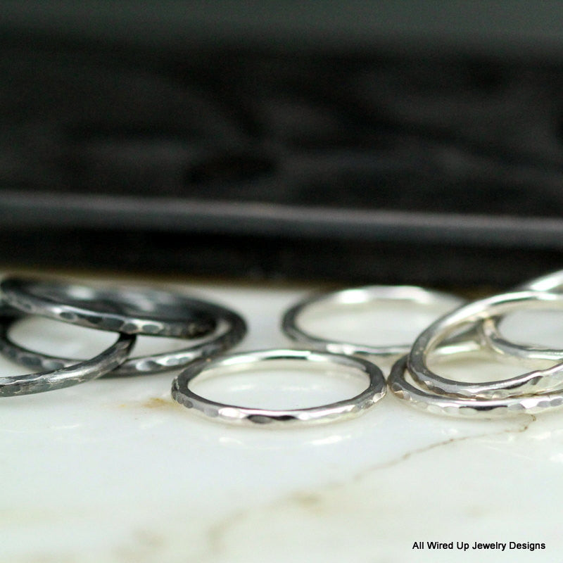 Hammered Sterling Stacking Ring - Choose Up to 6 Rings - All Wired ...