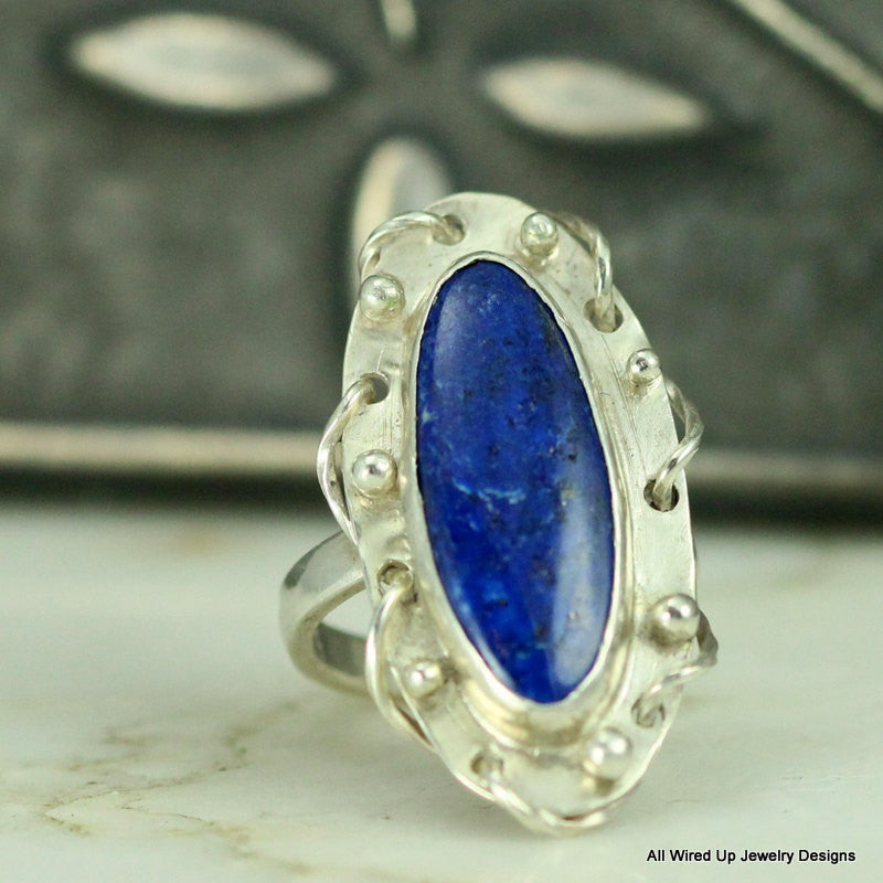 Sterling Lapis Ring - Statement Ring - Size 8 Ring - All Wired Up ...