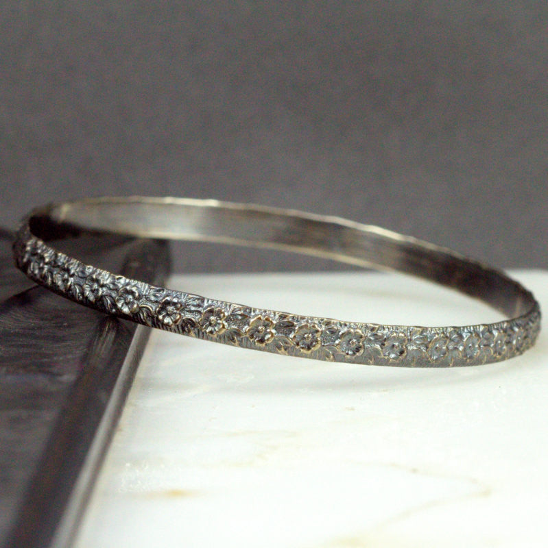 Sterling Flower Bangle - Small Flower Pattern Bangle Bracelet