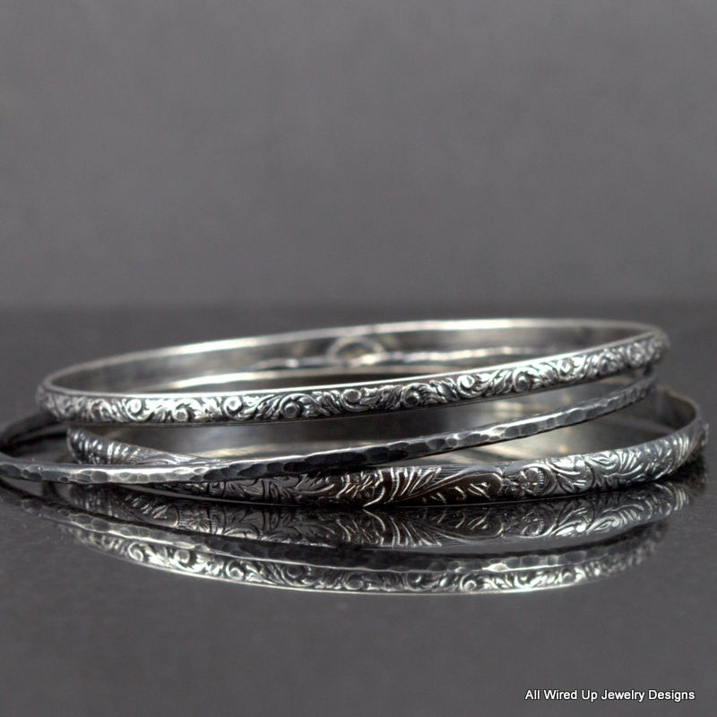 Sterling Pattern Bangle Set