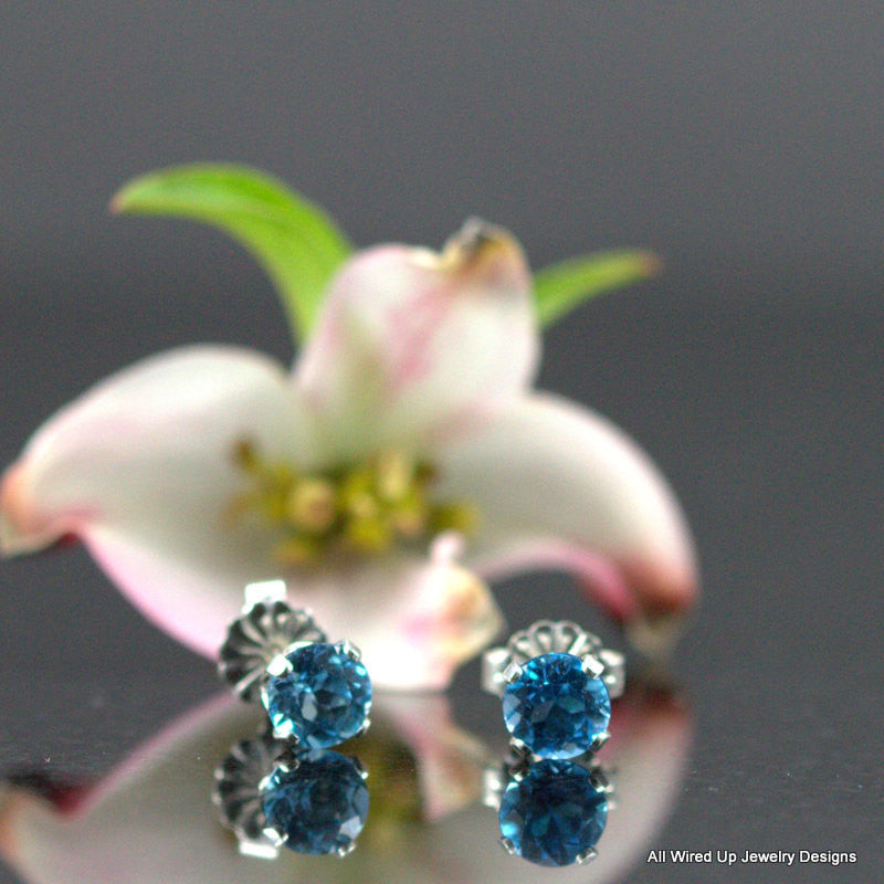 Sterling Birthstone Studs - Sterling Post Earrings - Genuine Stones-  Your Choice