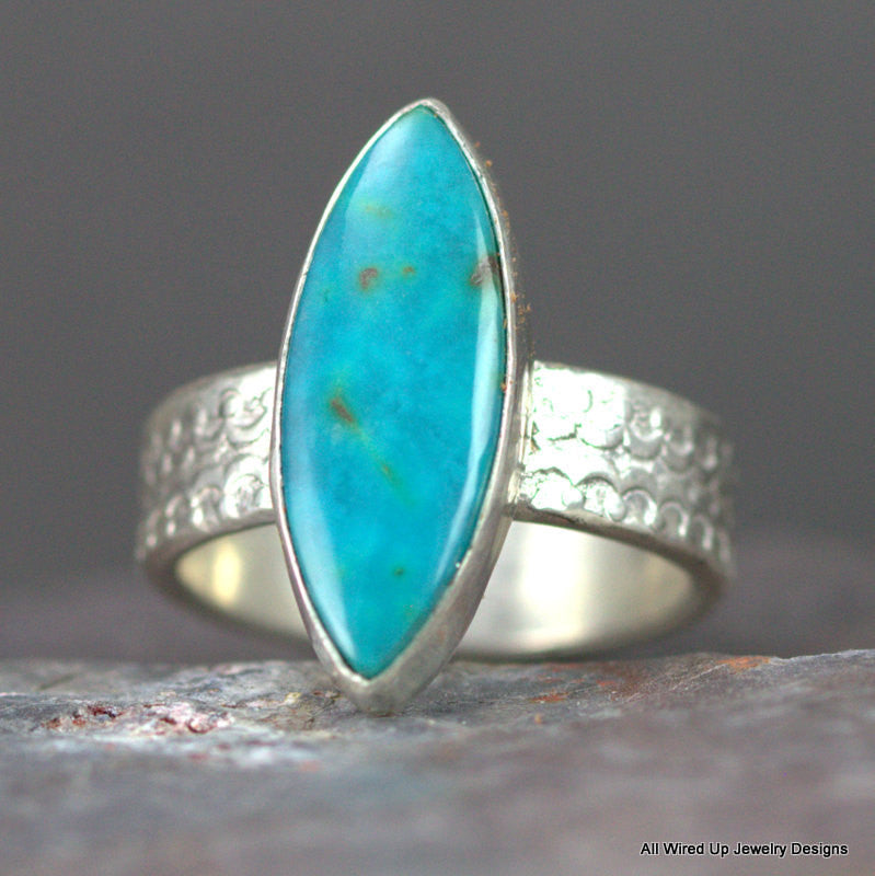 Chrysocolla Sterling Ring - Turquoise Stone on Wide Ring Band - Size ...
