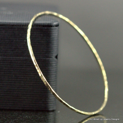 Solid Gold Bangle - Classic Gold Bangle - 14k or 18k Hammered Gold Bracelet