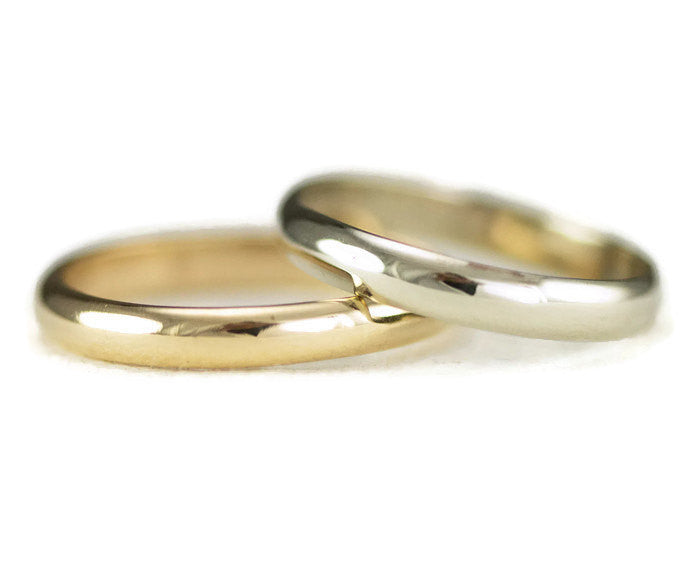 Classic Gold Wedding Band - 3 x 1mm 14k Yellow Gold, White or Rose ...