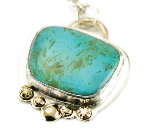 Sterling Kingman Turquoise Necklace with 14k Gold Accents
