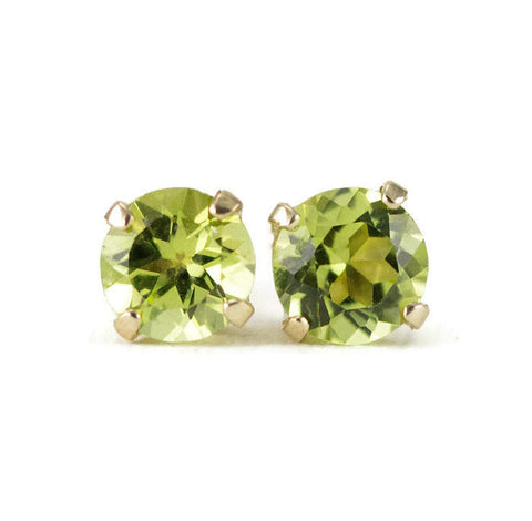 14k Gold Peridot Stud Earrings - 4mm and 5mm Sizes