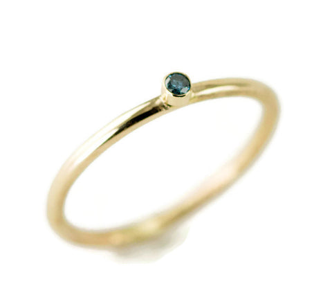 Tiny Blue Diamond Engagement Ring - 14k Or 18kGold