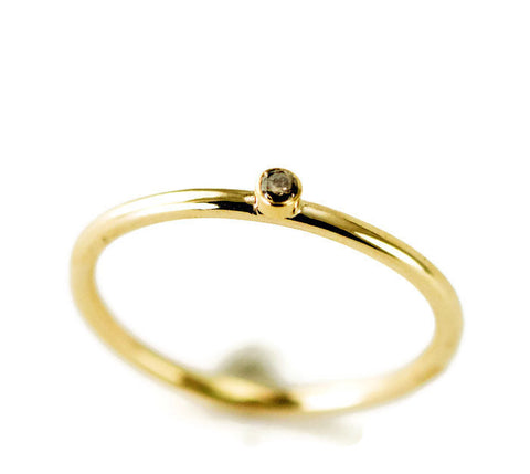Diamond Engagement Ring - 14k Or 18k Gold Top Light Brown Diamond