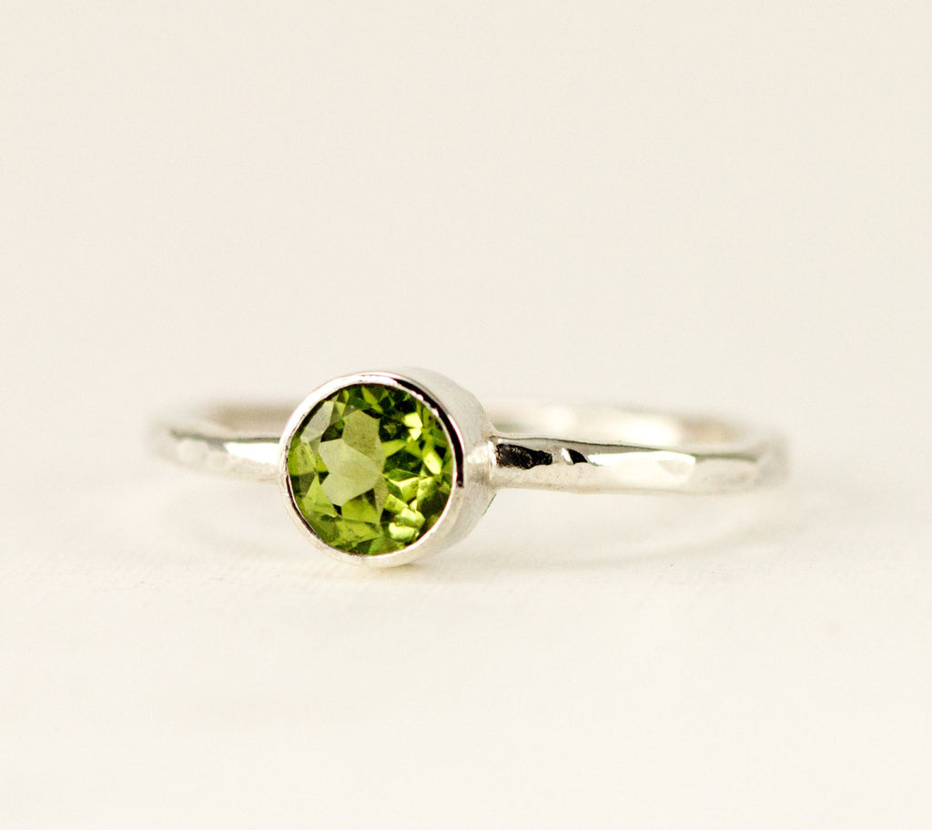 Peridot Birthstone Ring - Sterling Stacking Ring - 4mm, 5mm or 6mm Birthstone Ring