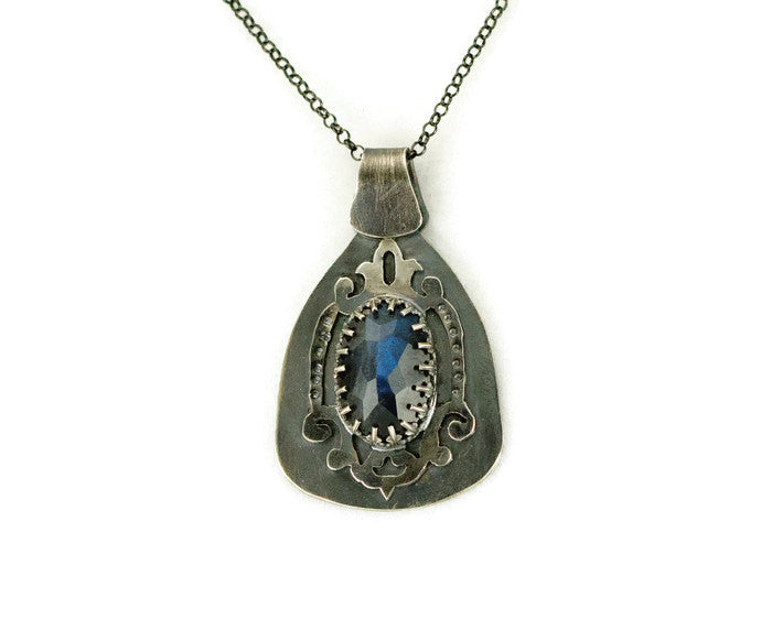 Sterling Labradorite Shield Necklace