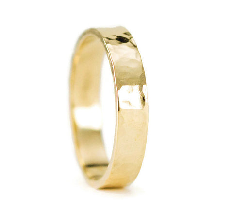 14k Yellow Gold Hammered Wedding Ring - 4mm Flat Gold Band