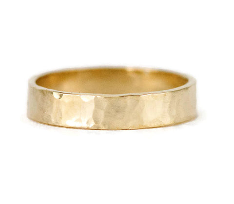 14k Yellow Gold Wedding Ring - Unisex 4 x 1.5mm Contemporary Gold Band
