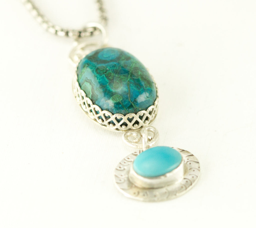 Sterling Chrysocolla and Turquoise Ncklace
