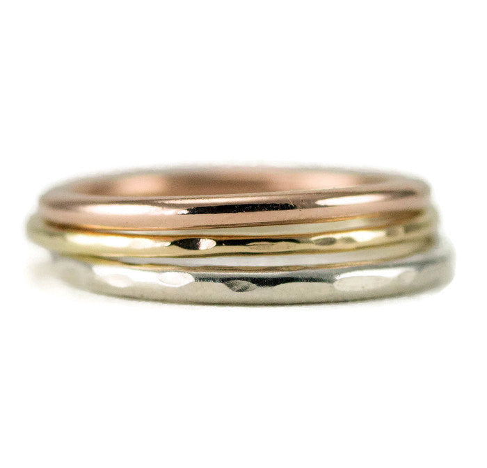 Tri-Color 14k Gold Stacking Ring