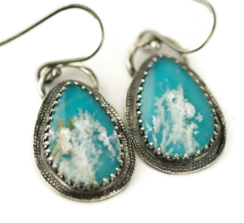 Coral Reef Agate Earrings - Plume Agate and Turquoise Earrings