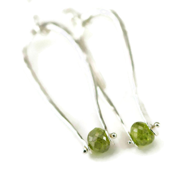 Peridot Sterling Pinned Earrings