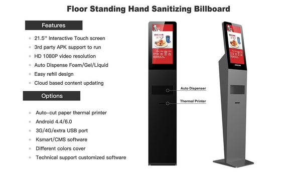 hand sanitizing billboard, floor standing hand sanitizing billboard