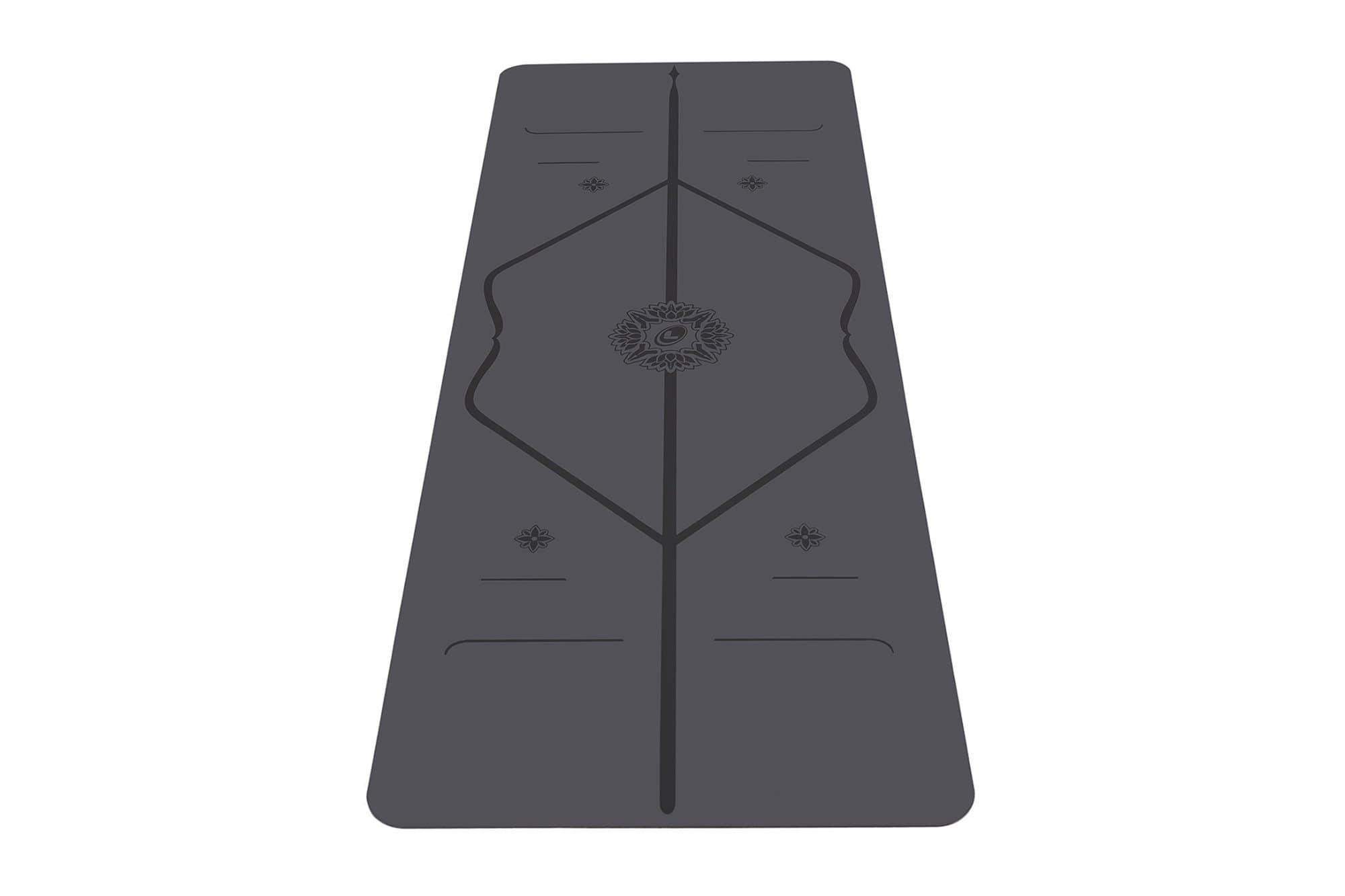 Portrait view of Gratitude Grey Yoga mat from Liforme