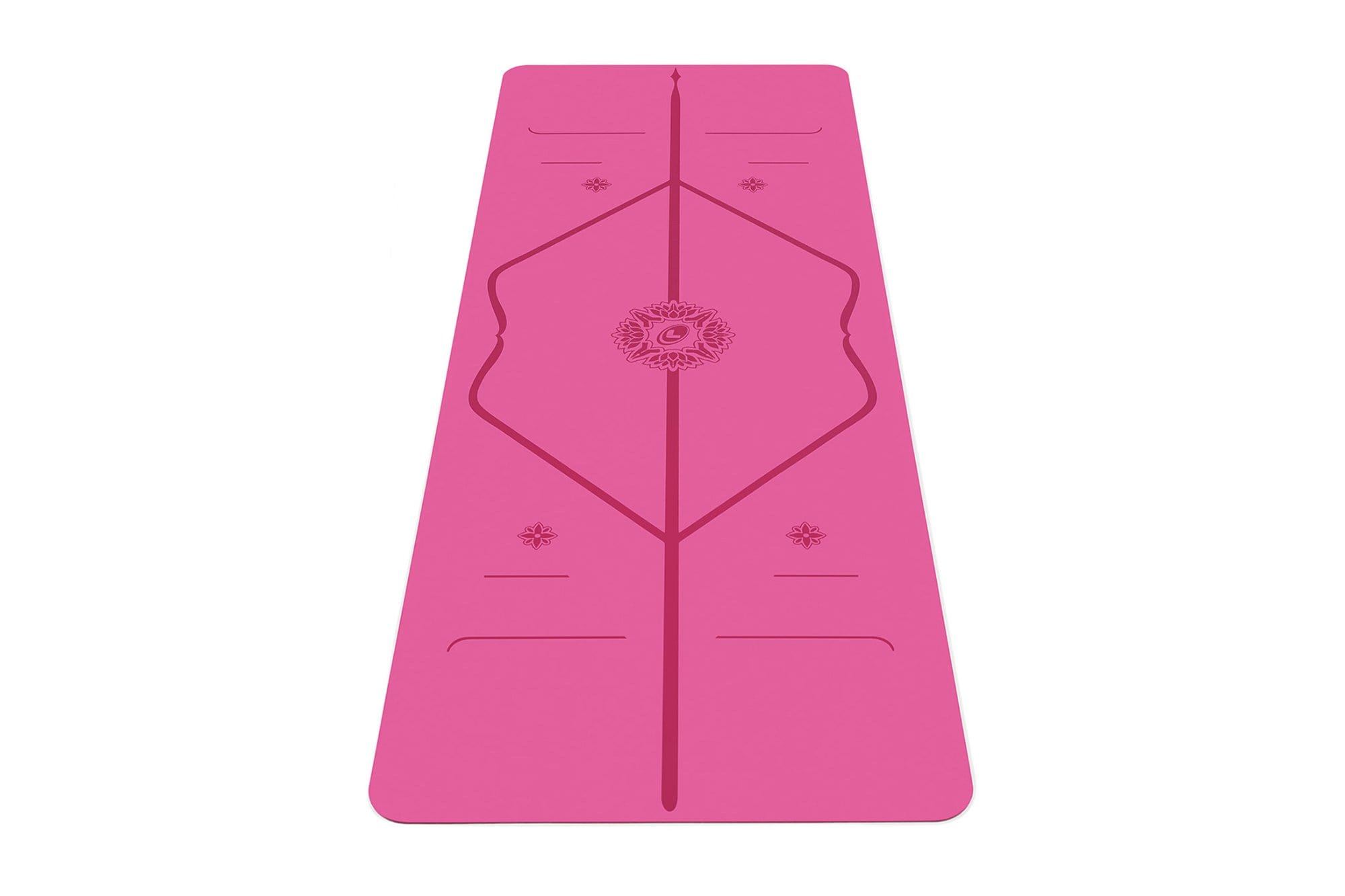 Portrait view of Gratitude Pink travel Yoga mat from Liforme