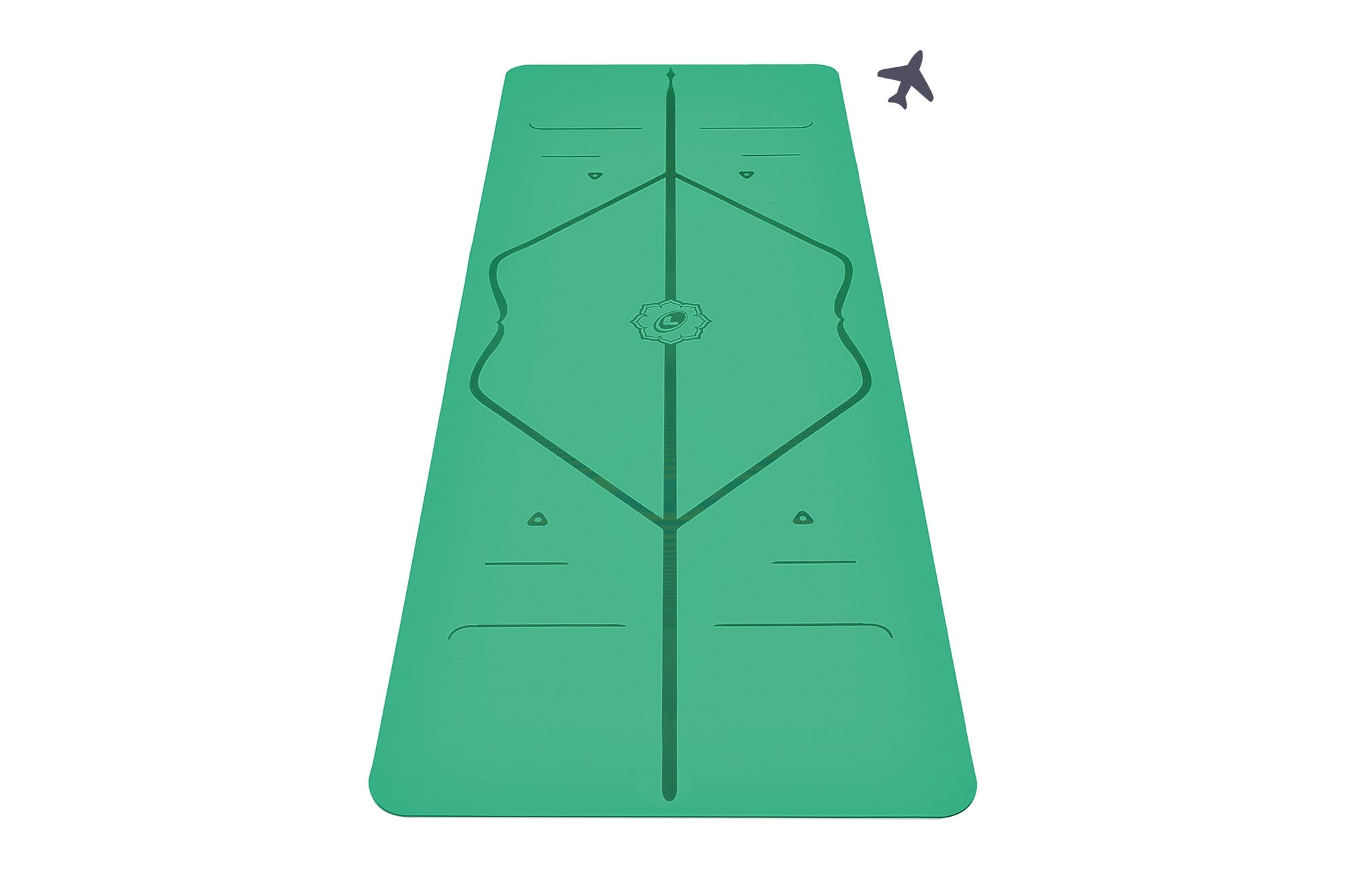 Portrait view of green travel Yoga mat from Liforme
