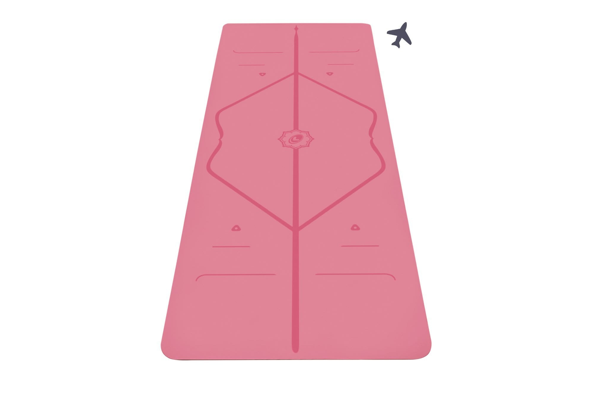 Portrait view of pink travel Yoga mat from Liforme