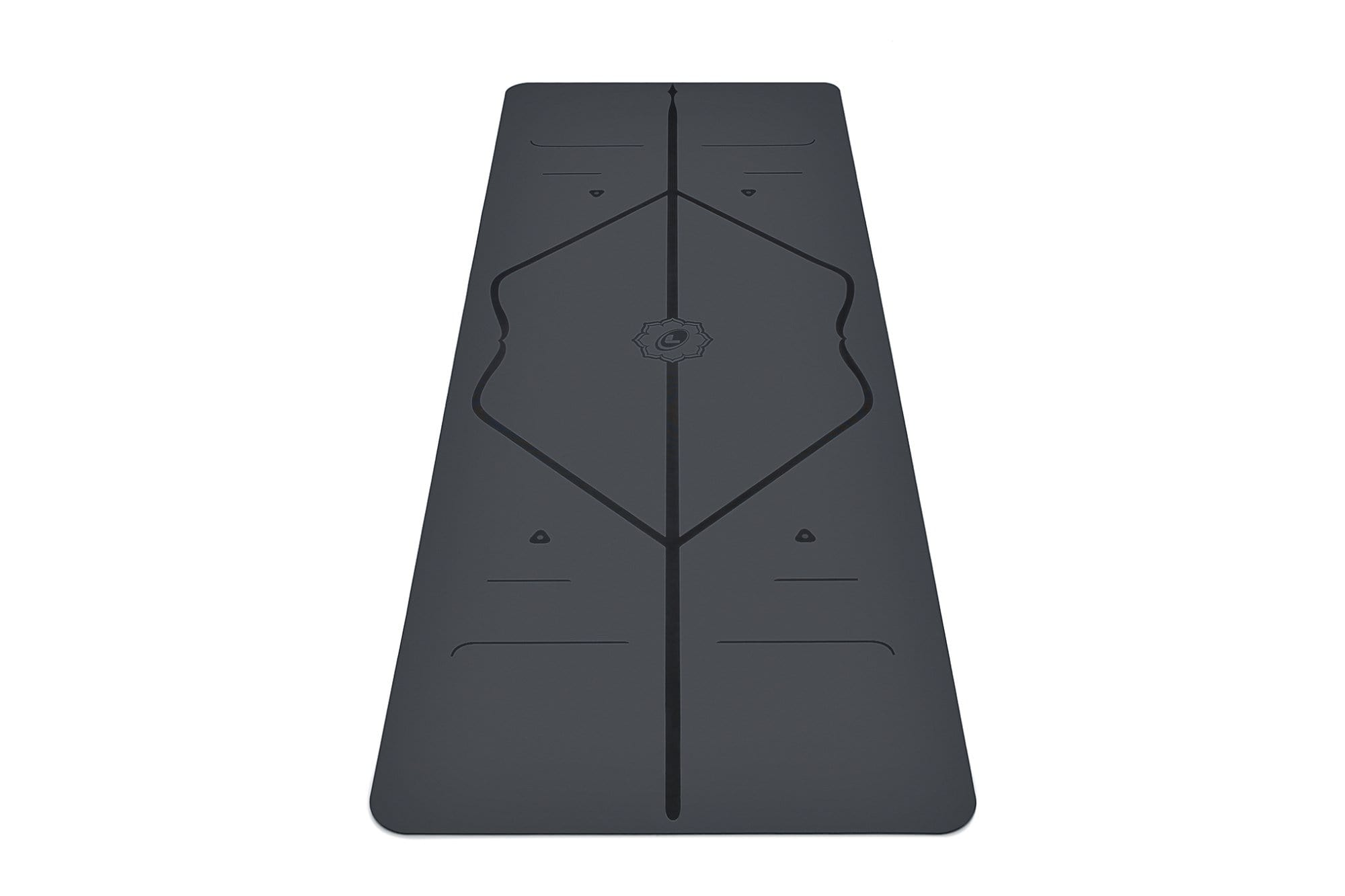 Portrait view of grey Yoga mat from Liforme