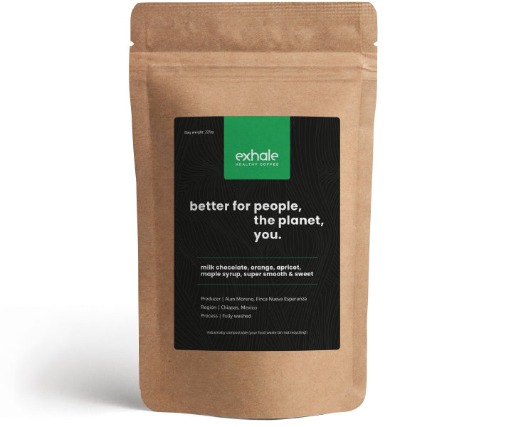 exhale regular caffeinated coffee in a compostable and recyclable pouch
