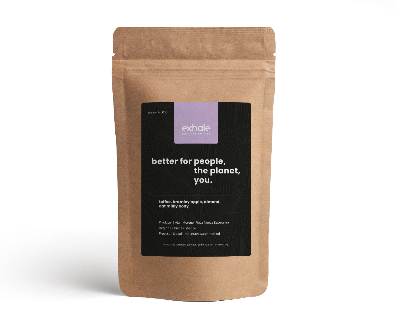 exhale regular decaffeinated coffee in a compostable and recyclable pouch