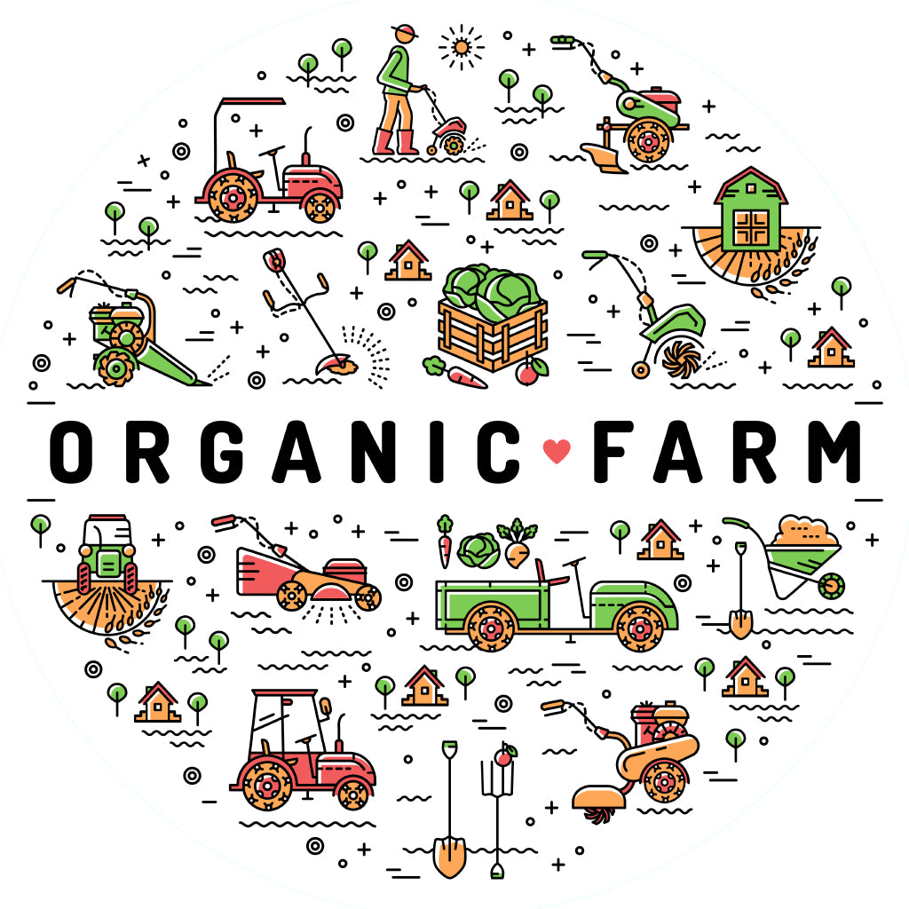 illustration showing organic farming practices