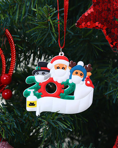 Christmas Santa Couple With Mask & Toilet Paper Ornament