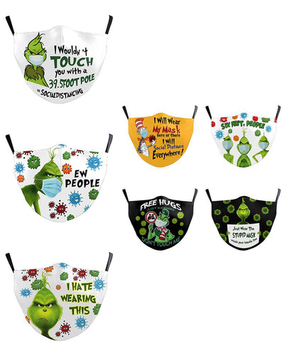 Christmas Cartoon Print PM2.5 Filter Face Mask For Adult