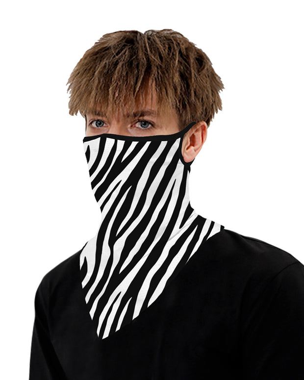 Zebra Print Breathable Ear Loop Face Cover Windproof Motorcycling Dust Outdoors