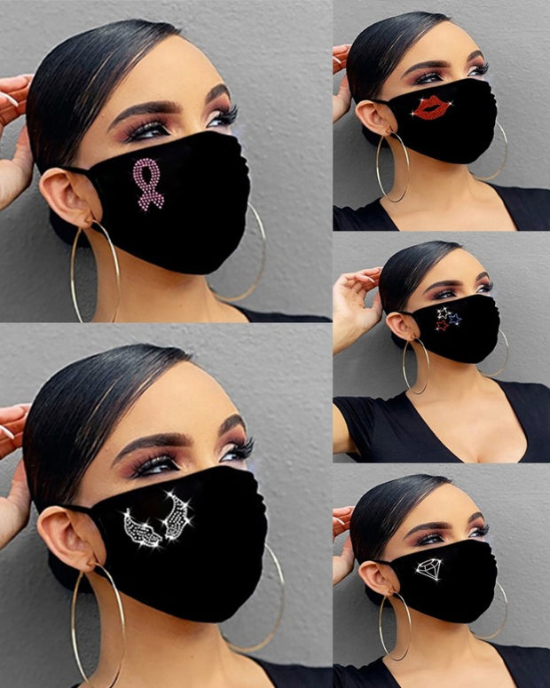 5PCS/Set Randomly Dispatched Letter Pattern Bling Rhinestone Face Mask(Colors/Patterns Sent Randomly)